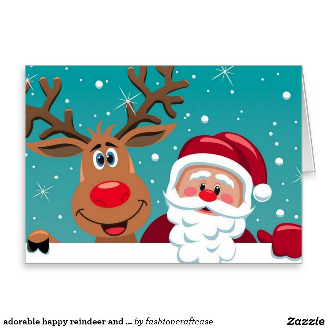 Adorable Happy Reindeer And Santa Claus Holiday Card