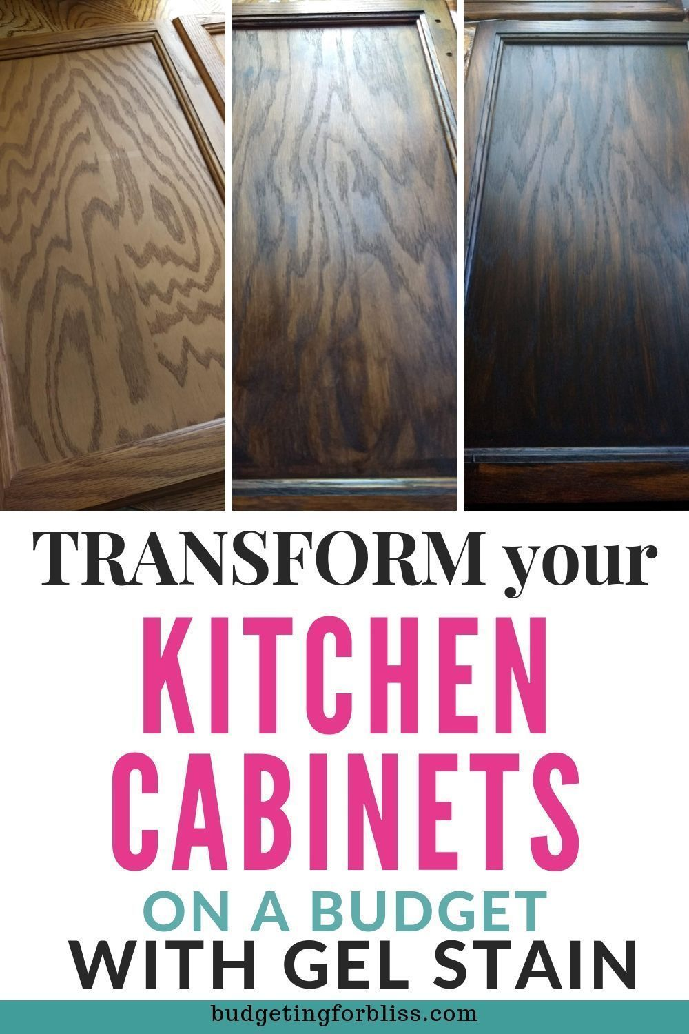 How to Gel Stain your Cabinets on a Budget #honeyoakcabinets Do you want to update your honey oak cabinets? Learn how to gel stain your cabinets on a budget. You can avoid the hassle of stripping and sanding your cabinets with gel stain. #gelstain #budgetmakeover #generalfinishes #javastain #honeyoakcabinets How to Gel Stain your Cabinets on a Budget #honeyoakcabinets Do you want to update your honey oak cabinets? Learn how to gel stain your cabinets on a budget. You can avoid the hassle of stri #honeyoakcabinets