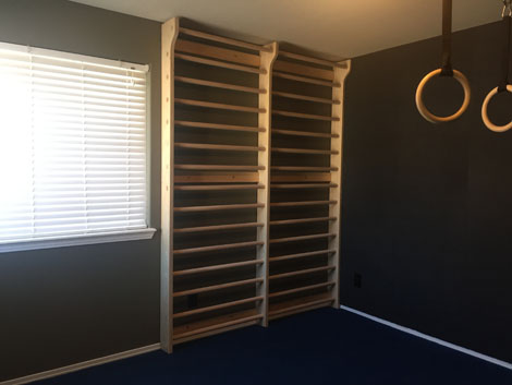 Diy Double Stall Bars Completed With Pics Equipment Gymnasticbodies In 2020 Diy Home Gym Wall Ladders Yoga Studio Home