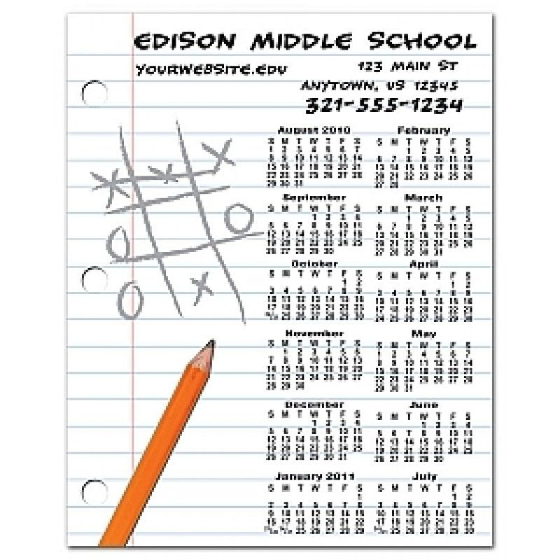 4x5 Custom School Calendar Magnets for Students and Parents