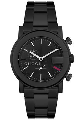 780273bfc8a Gucci Watches Men s 101G Chronograph Black Stainless Steel Black Stai