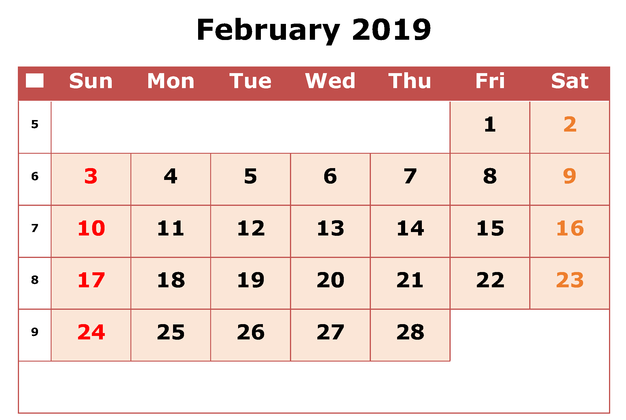 Editable February Calendar Worksheet Feb