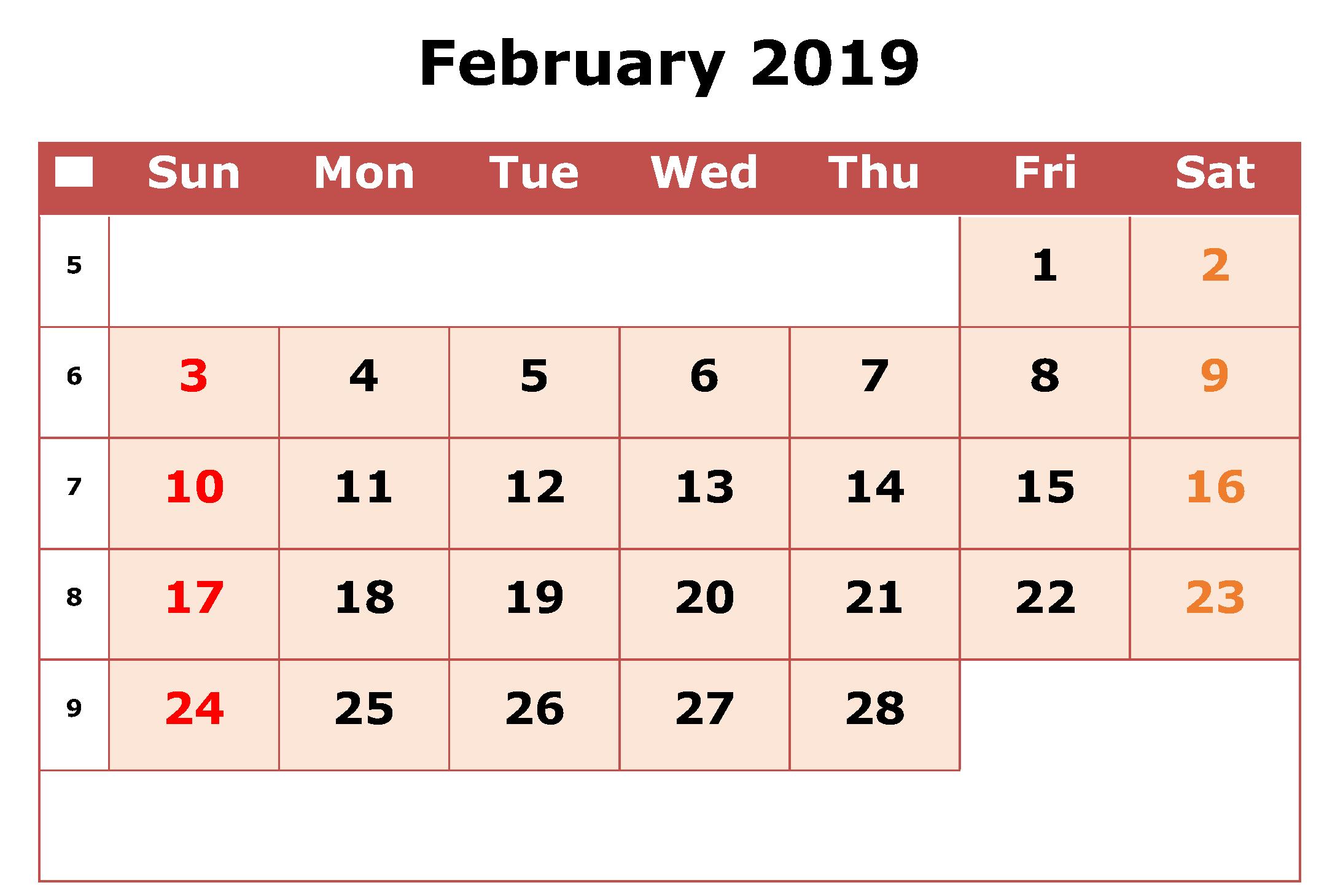 Editable February Calendar Worksheet Feb