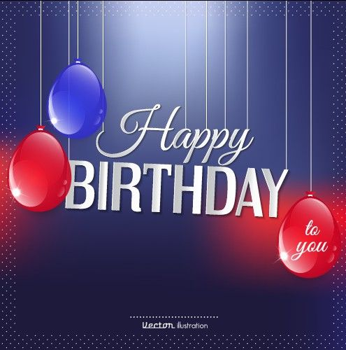 Creative Happy Birthday Background With Balloon Vector 02
