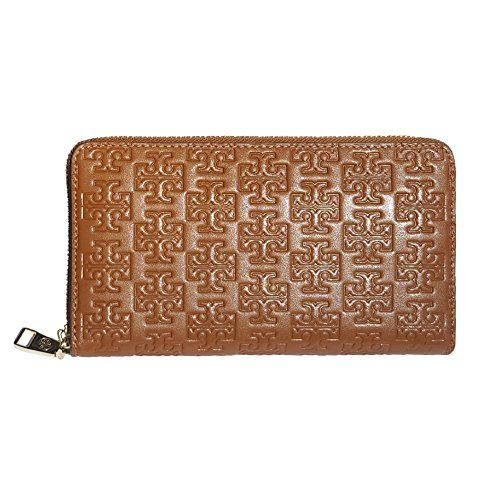 Tory Burch Embossed T Zip Continental Wallet Leather - Bark