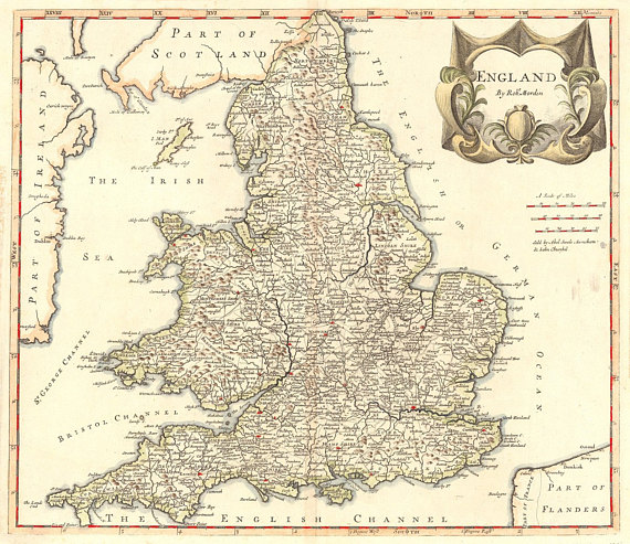 Vintage Map   England, 1695 | Products | Pinterest | Map, England