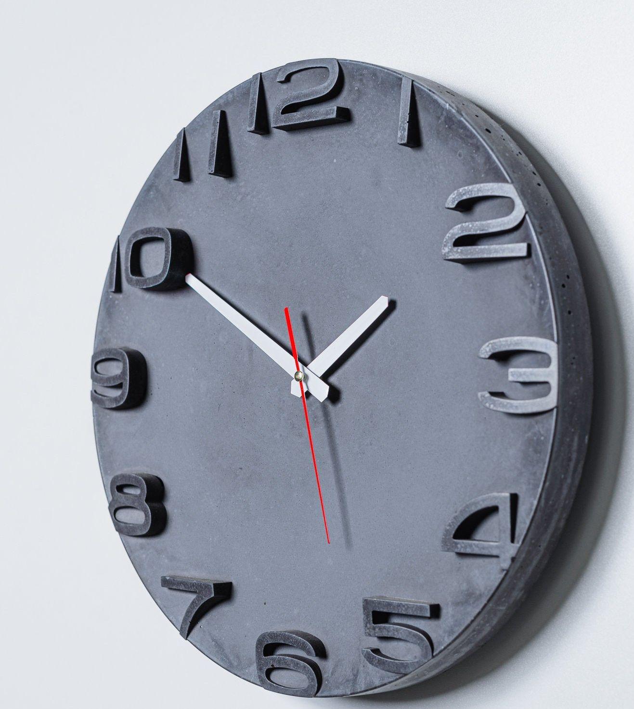 Modern Concrete Wall Clock Anthracite Concrete Home Decor Cement Clock Minimalist Wall Clock Diameter 35 Cm In 2020 Minimalist Wall Clocks Wall Clock Clock