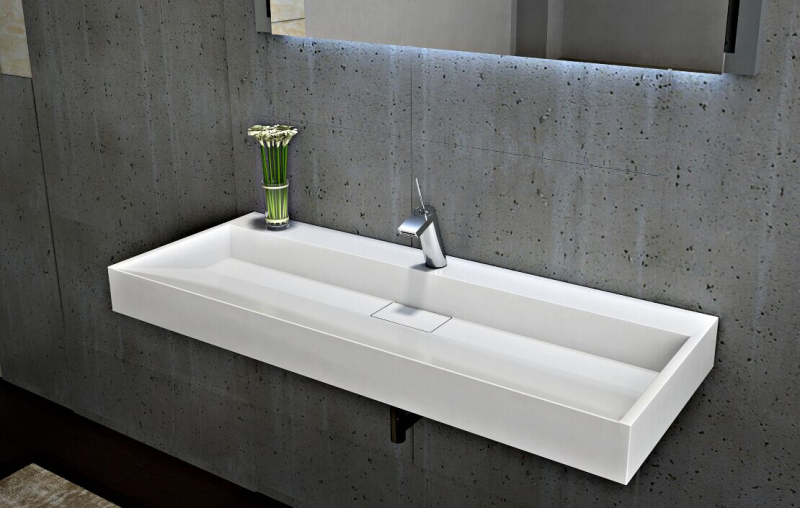 Lavabo mural lavabo  poser en marbre coulé BS6001 blanc 70cm