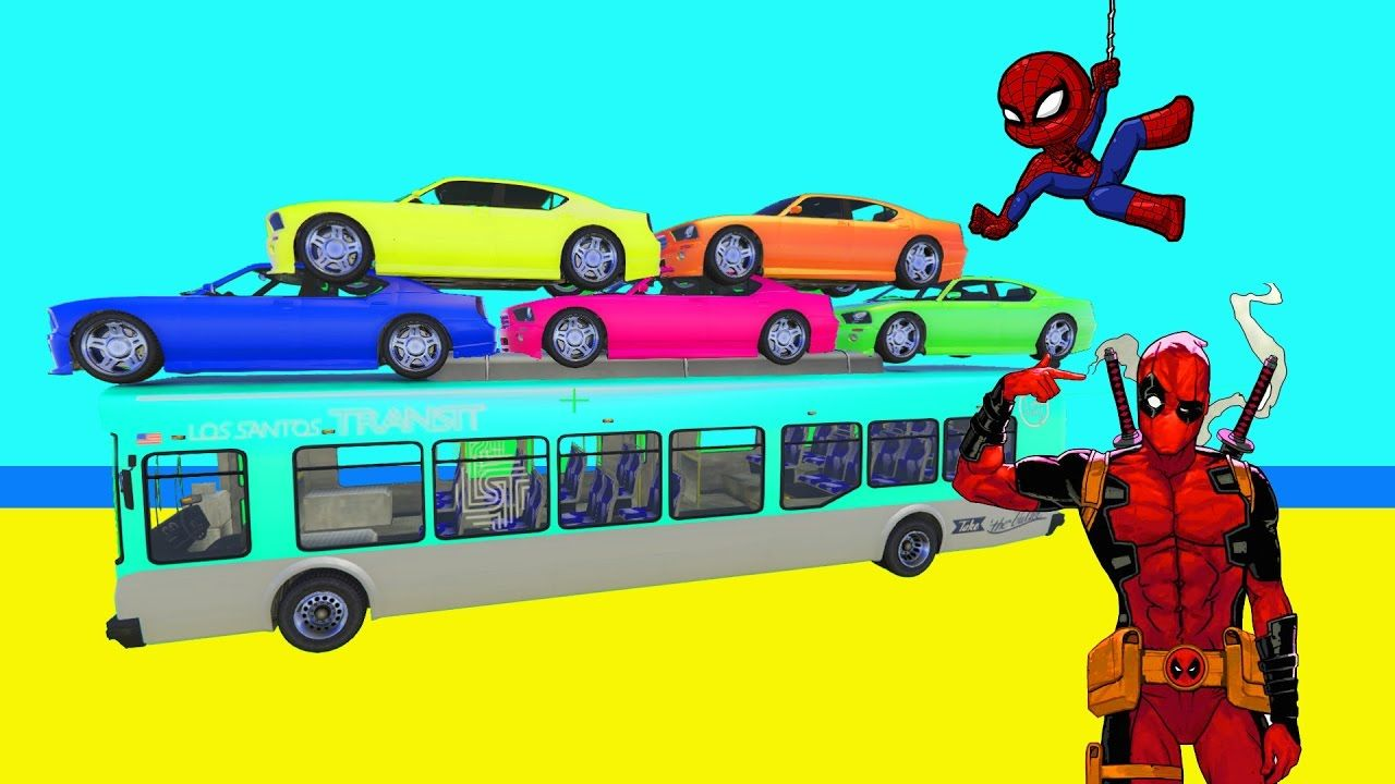 Learn Colors Cars - Superheroes Spiderman Cartoons for kids & Learn ...