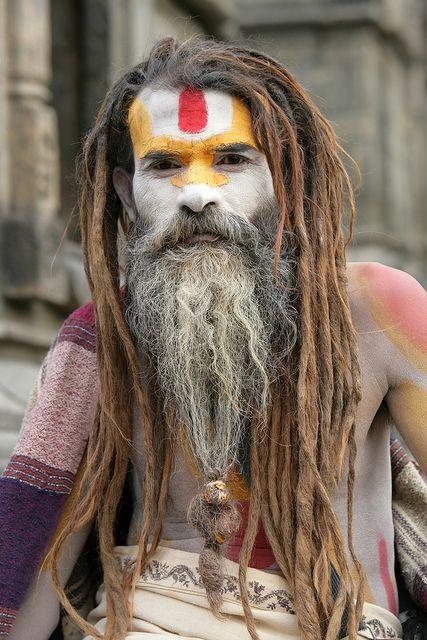Sadhu (Baba) with long hair and beautiful body markings in