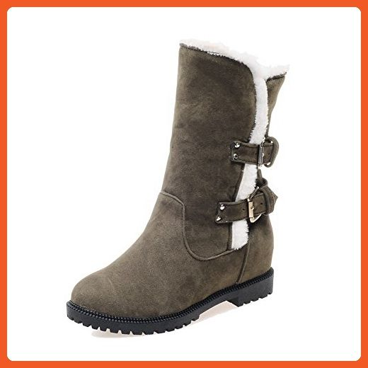 Women's High-Heels Round Closed Toe Imitated Suede Low-Top Solid Pull-On Boots Blue-Platform 38
