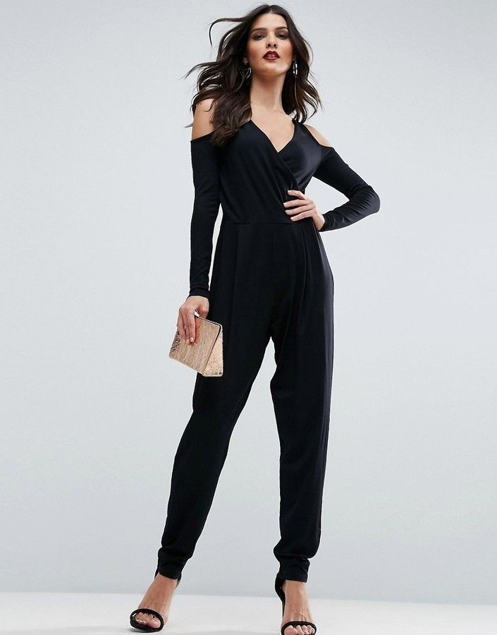 57fa9fe4518 Asos Cold Shoulder Wrap Jumpsuit in Jersey