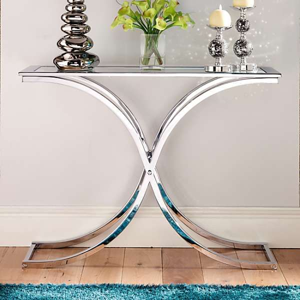 Houston Glass & Chrome Console Table   Small console ...
