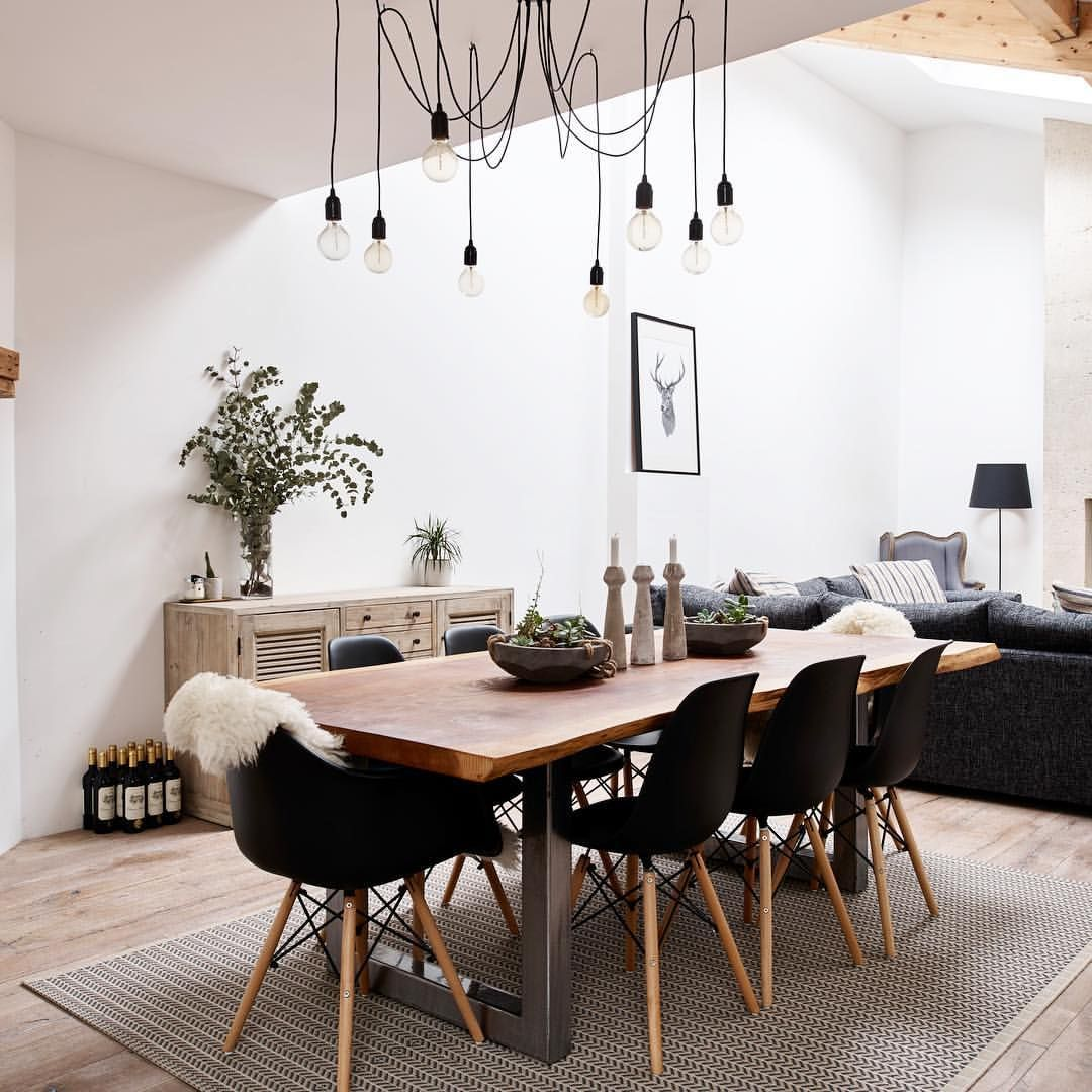 Modern dining living room high ceiling white scandi ...