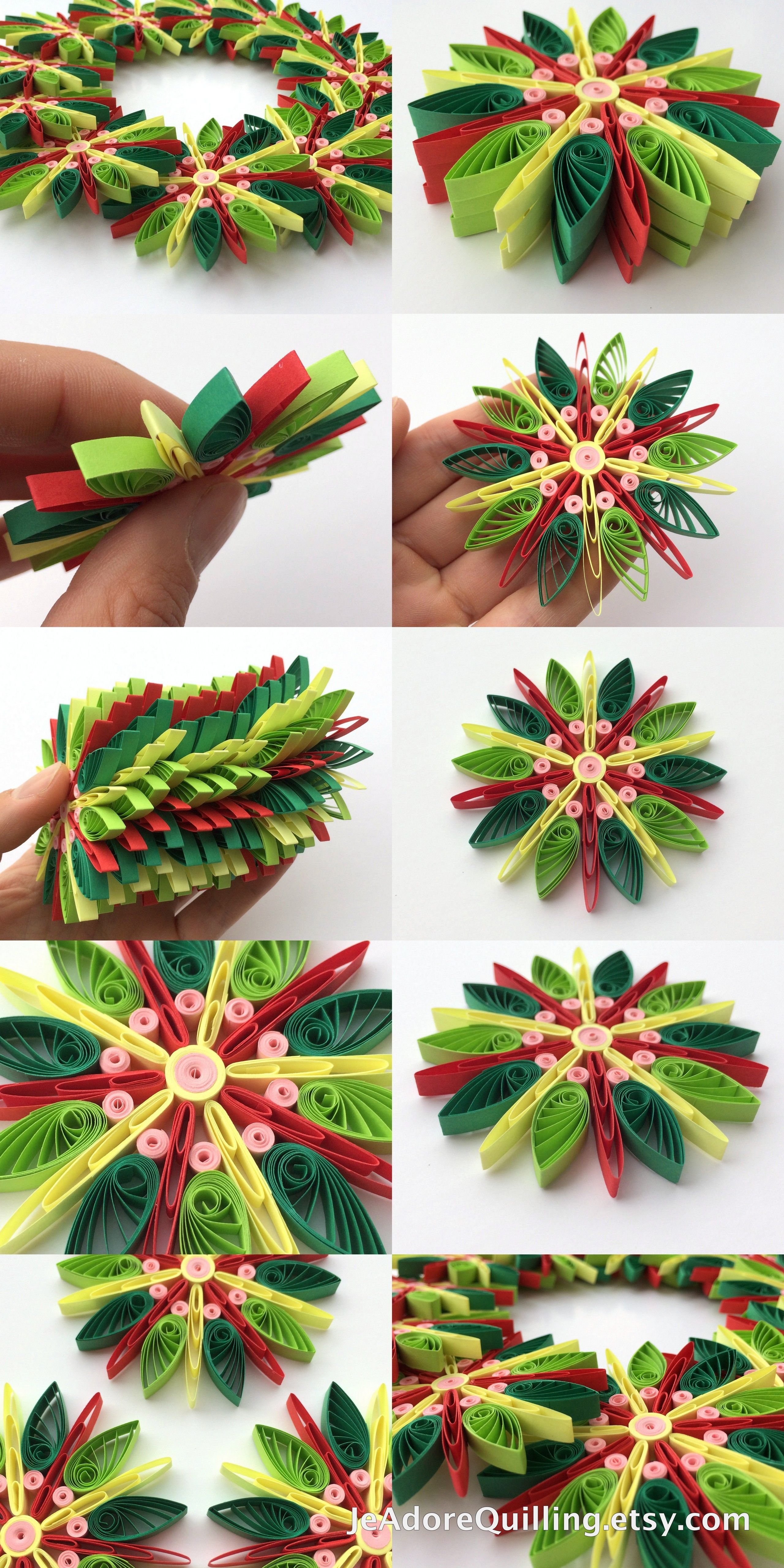 Lavoretti Di Natale Quilling.Snowflakes Green Yellow Red Christmas Tree Decoration Winter