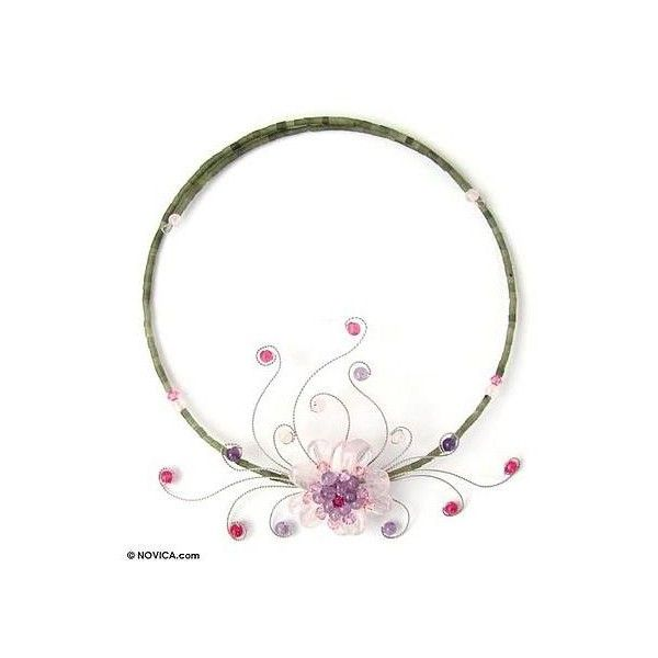 NOVICA Rose quartz and amethyst choker (400 DKK) ❤ liked on Polyvore featuring jewelry, necklaces, amethyst, pendant, amethyst bead necklace, rose quartz pendant, flower choker necklace, rose quartz necklace and handcrafted necklaces