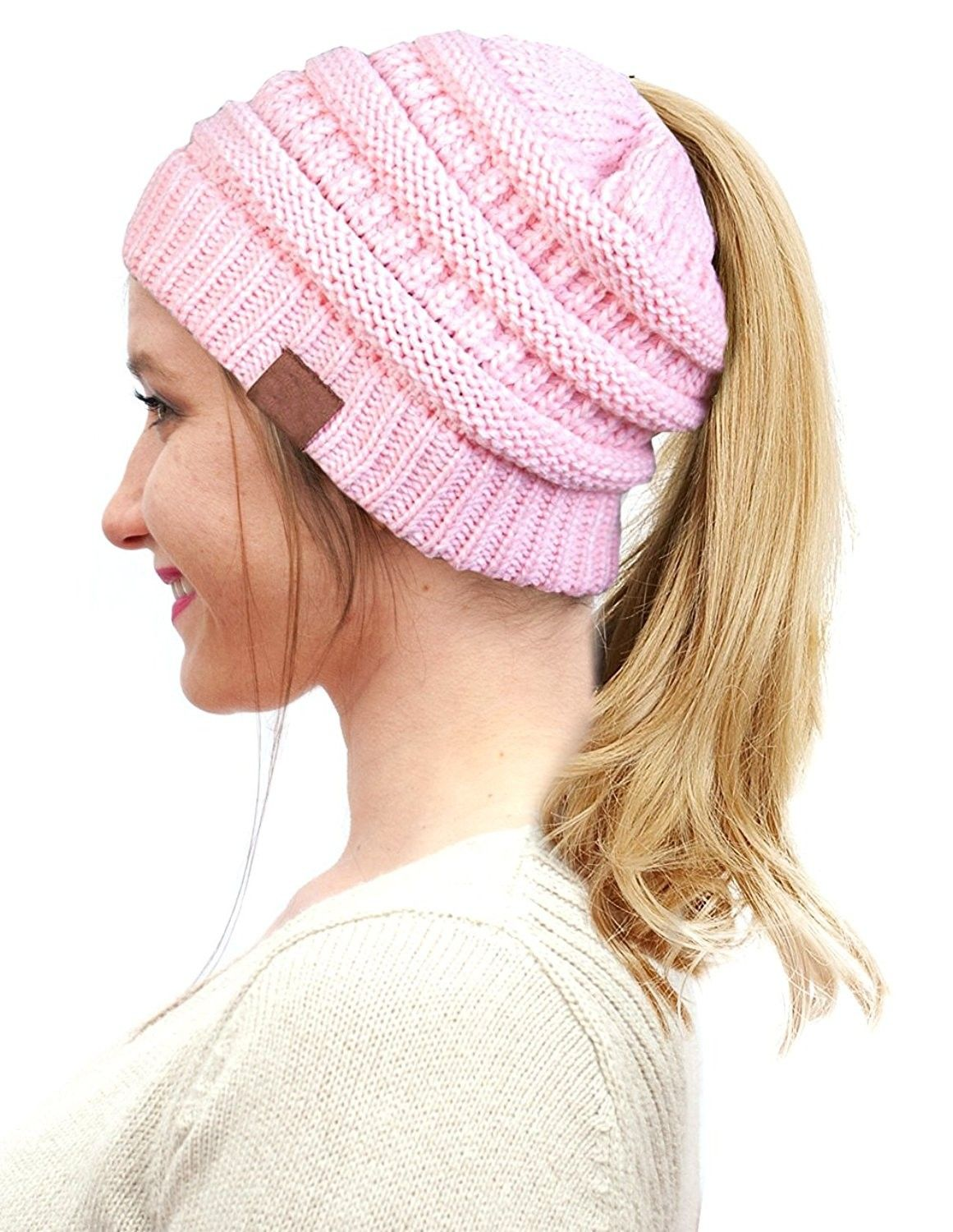 BeanieTail Soft Stretch Cable Knit Messy High Bun Ponytail Winter Women  Beanie Hat - A-baby Pink - CE188K4X2ZZ - Hats   Caps a4c6bafd58be