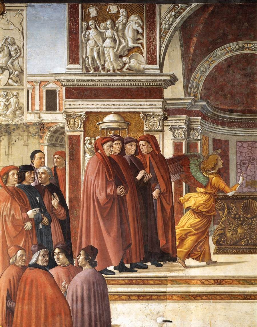 ❤ - DOMENICO GHIRLANDAIO (1449 - 1494) - Angel Appearing to Zacharias, detail - 1486/90. Fresco   Cappella Tornabuoni, Santa Maria Novella, Florence.