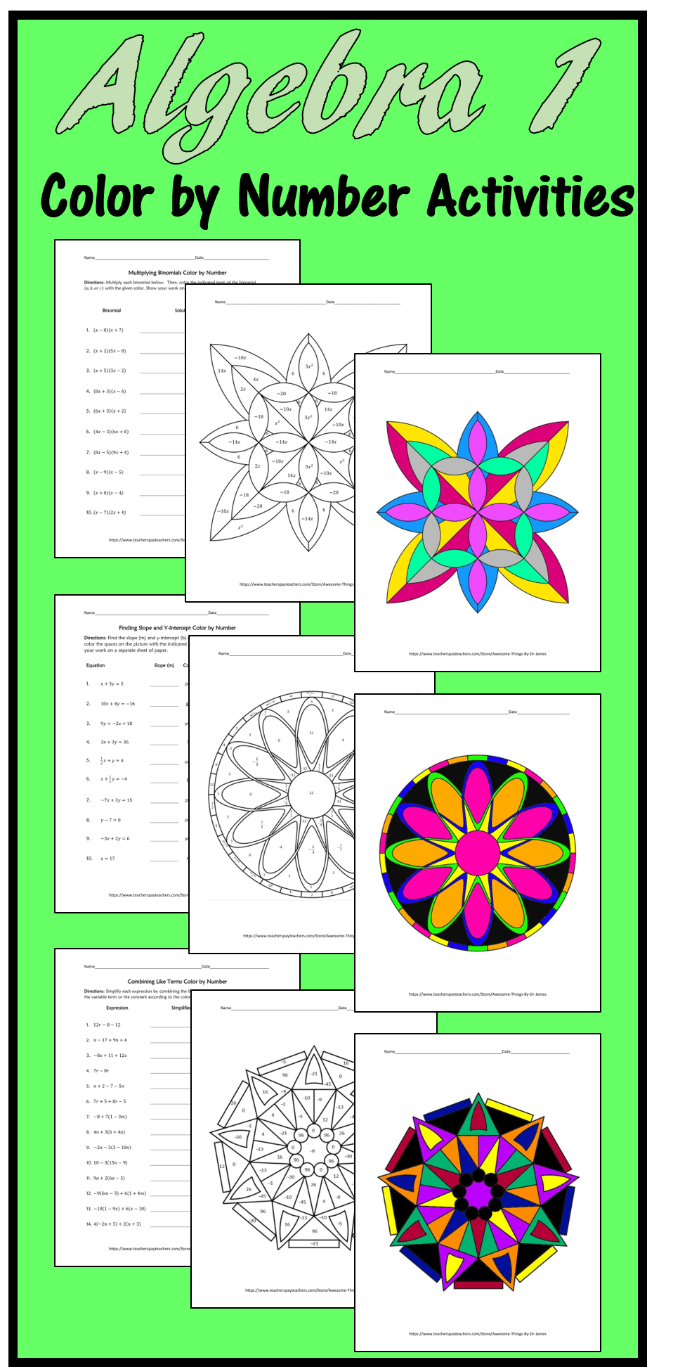Engage your students with these fun yet challenging Algebra 1 color ...