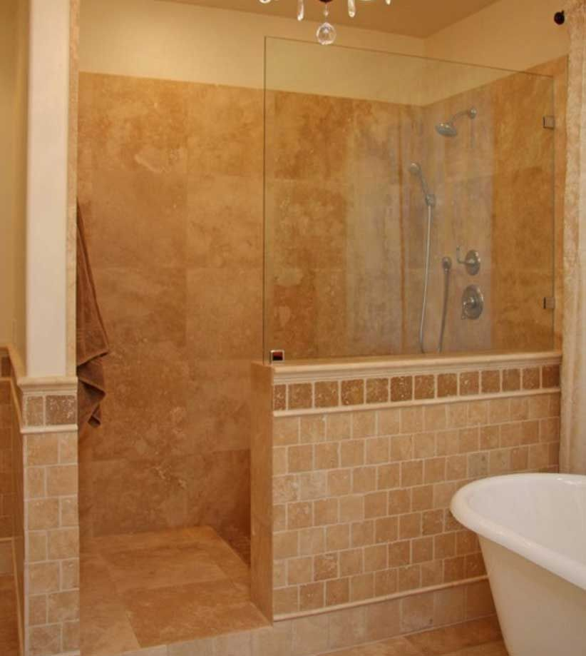 Master Showers Without Doors Walk In Ideas For Inspiration Walk In Shower Designs With Showers Without Doors Bathroom Shower Doors Traditional Bathroom