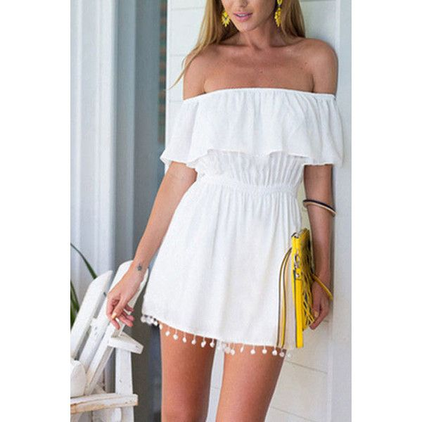 a53b8e6413 Yoins White Layered Elastic Waist Playsuit with Tassel Details (€13 ...