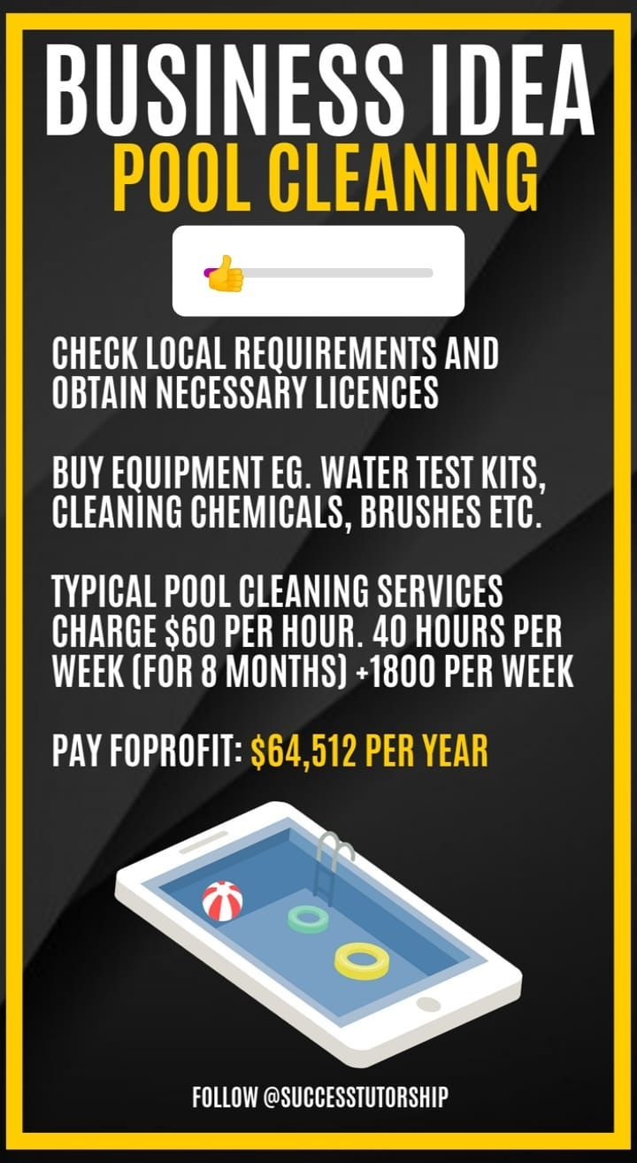 Business idea pool cleaning in 2020 pool cleaning