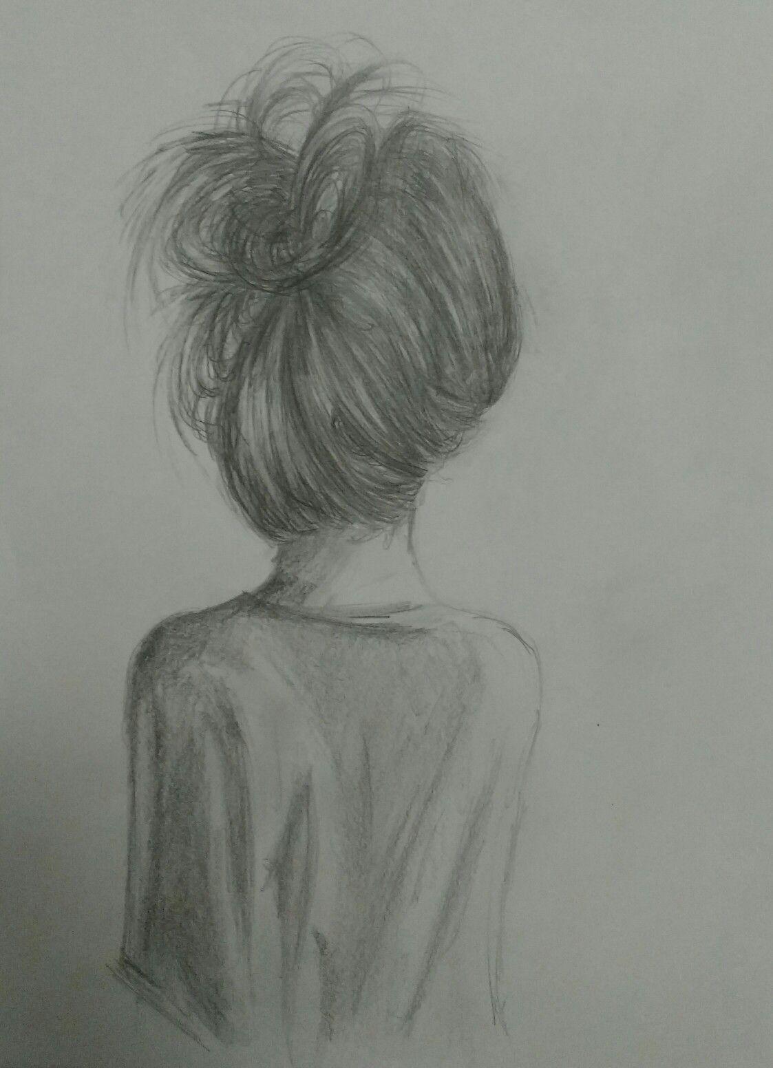 m dchen mit einem unordentlichen dutt bleistift zeichnung zeichnungen pinterest doodle. Black Bedroom Furniture Sets. Home Design Ideas