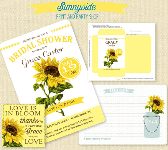 IN BLOOM - SUNFLOWER Bridal Shower Collection - Invitation, Seed Packet, Favor Tag & Recipe Card