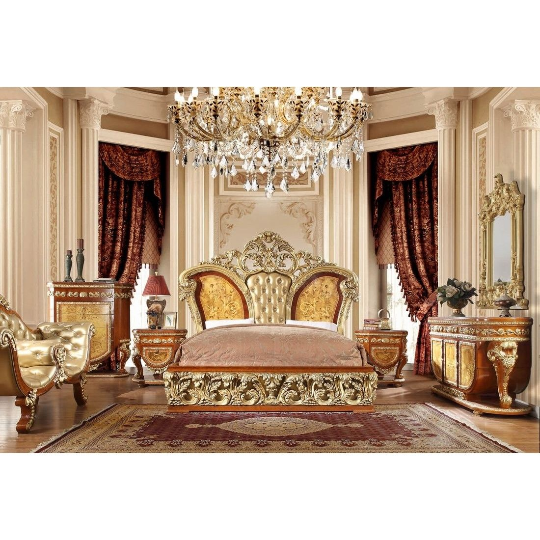 Homey Design HD-8024 4pc California King Bedroom Set In