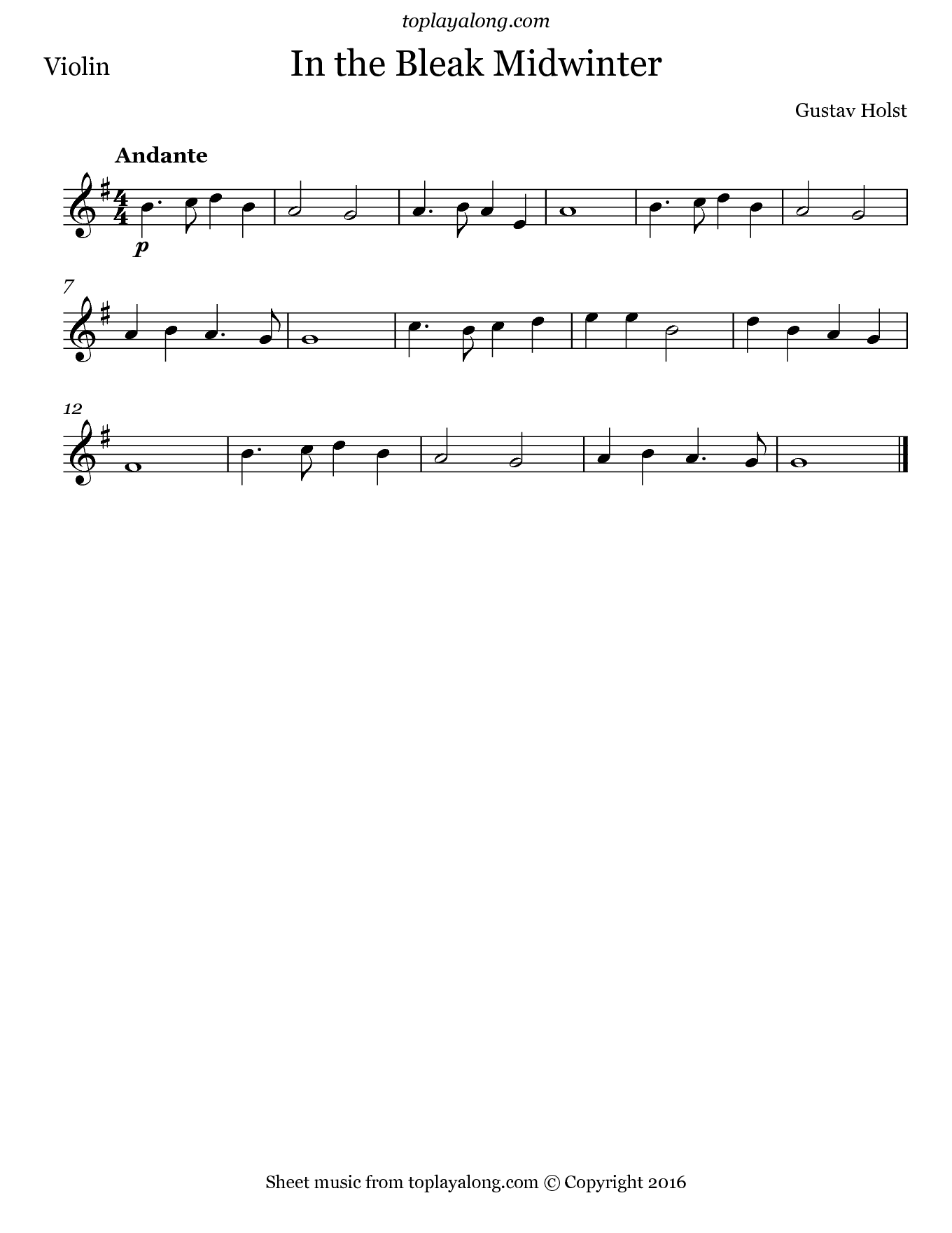 In The Bleak Midwinter By Holst Free Sheet Music For
