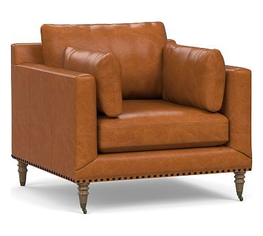 Tallulah Leather Armchair Down Blend Wrapped Cushions