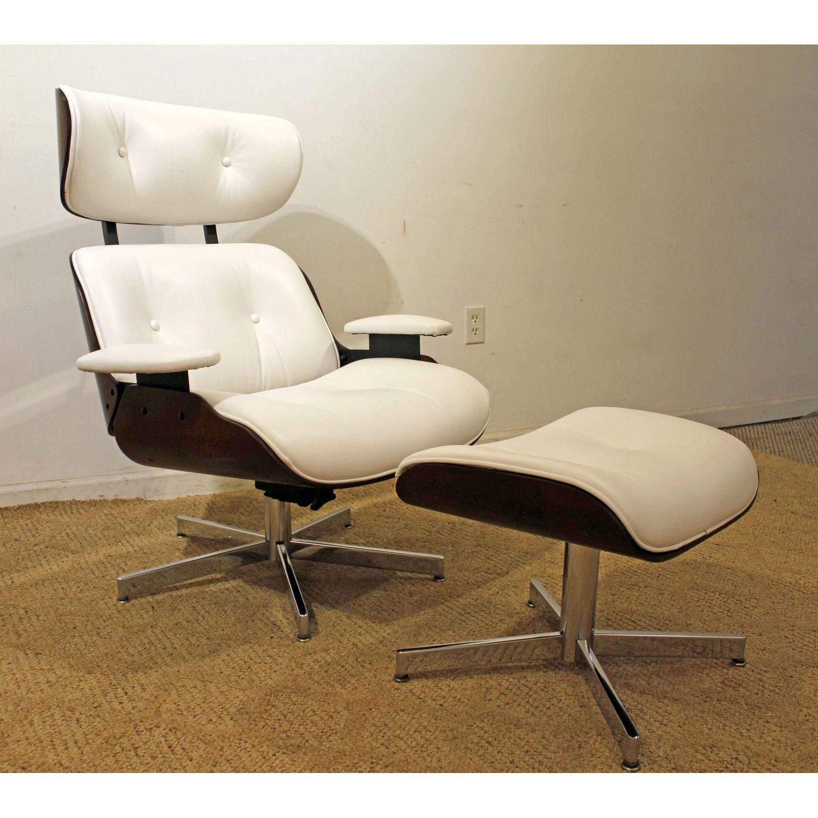 Selig Eames Chair Lounge Cushions Mid Century Danish Modern Leather Swivel Ottoman Signed