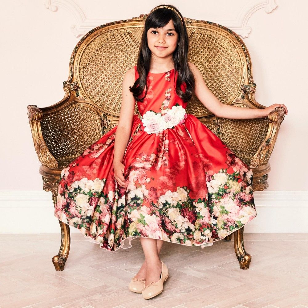 Red dress with rose brooch posy u belt brooches kids online and rose