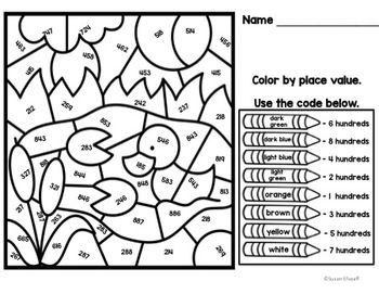 place value math coloring sheets color by code pond theme education math place values. Black Bedroom Furniture Sets. Home Design Ideas
