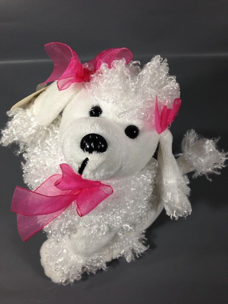 Cuddly bunch white french poodle dog pink bows stuffed
