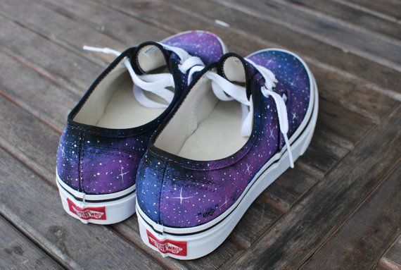 58758dccb5 Galaxy Vans Shoes - Custom Hand Painted Galaxy on Vans Authentic -  Customizable