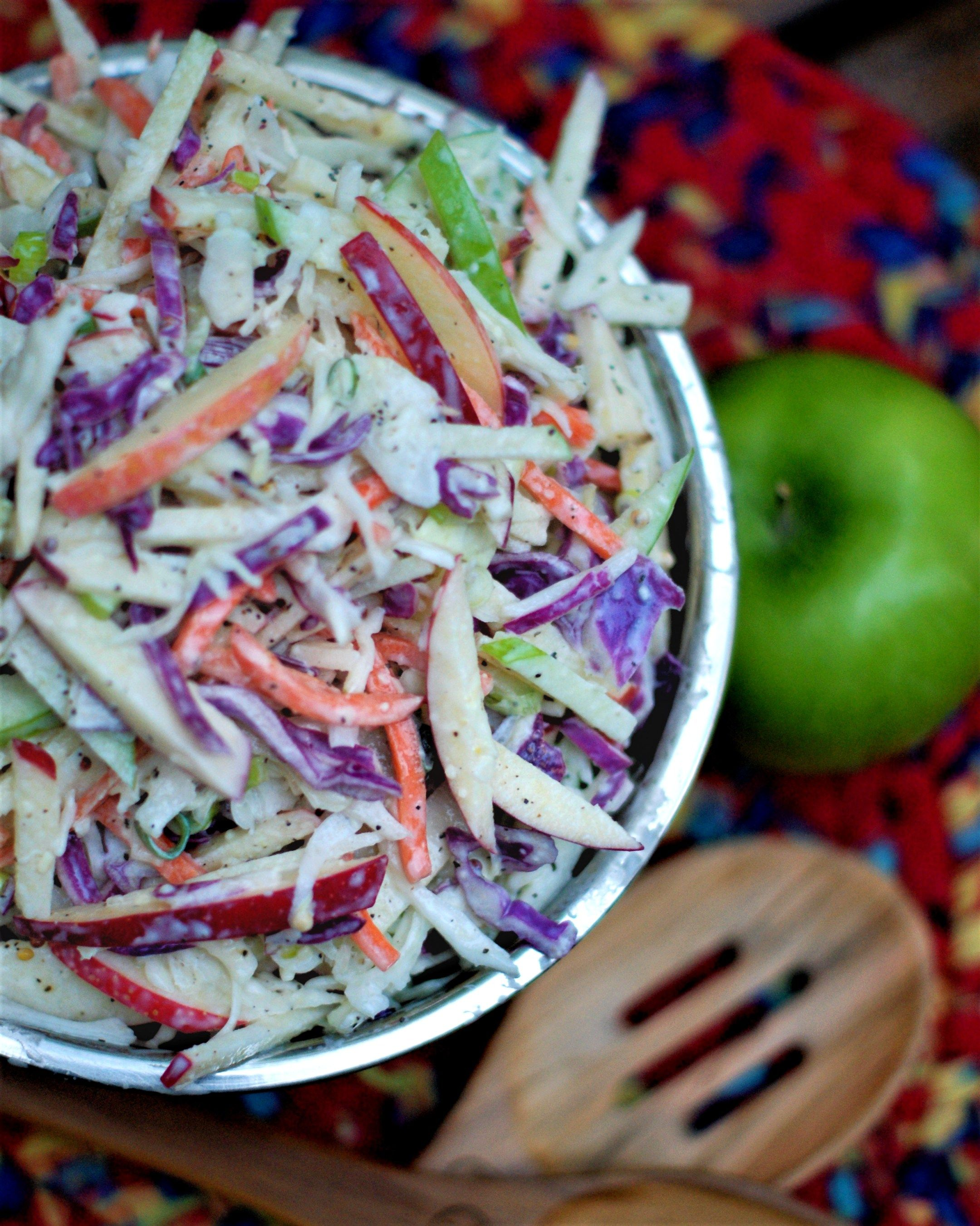 Finished Bowl Of Apple Coleslaw With Homemade Buttermilk Dressing Apple Coleslaw Homemade Buttermilk Coleslaw