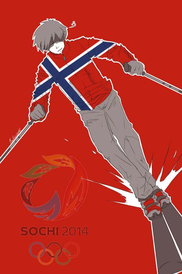Hiihdossa ei kai tartte kypärää, mut jos se laskettelee... KYPÄRÄ PÄÄHÄN! Fourth in a series showing the Hetalia Nordics as athletes in the 2014 Sochi Winter Olympics: Sigurd (head-canon name for Norway) as an alpine skier - Art by inverted-typo.tumblr.com