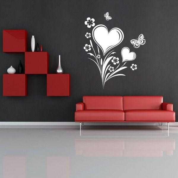 Wände Streichen U2013 Ideen Für Das Wohnzimmer   Wände Streichen Ideen  Wohnzimmer Schablon Muster Herz Rot