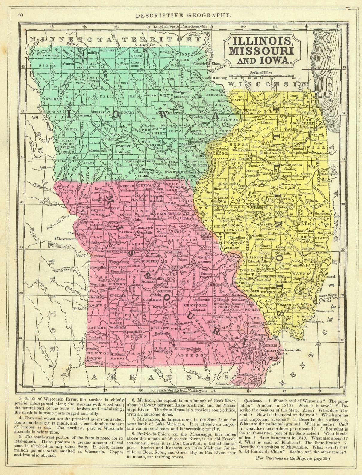Map Of Illinois And Iowa Illinois, Missouri and Iowa. Thomas, Cowperthwait & Co., Mitchell