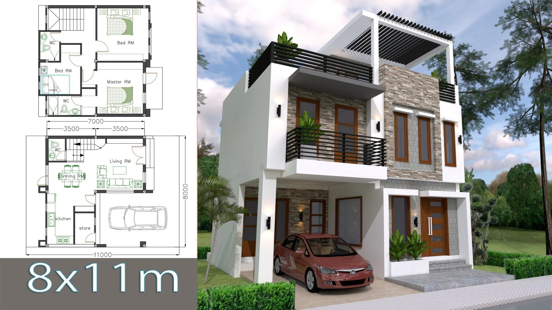 Home Design Plan 8x11m With 3 Bedrooms This Villa Is Modeling By Sam Architect With 2 Stories Level House Arch Design Simple House Design Duplex House Design