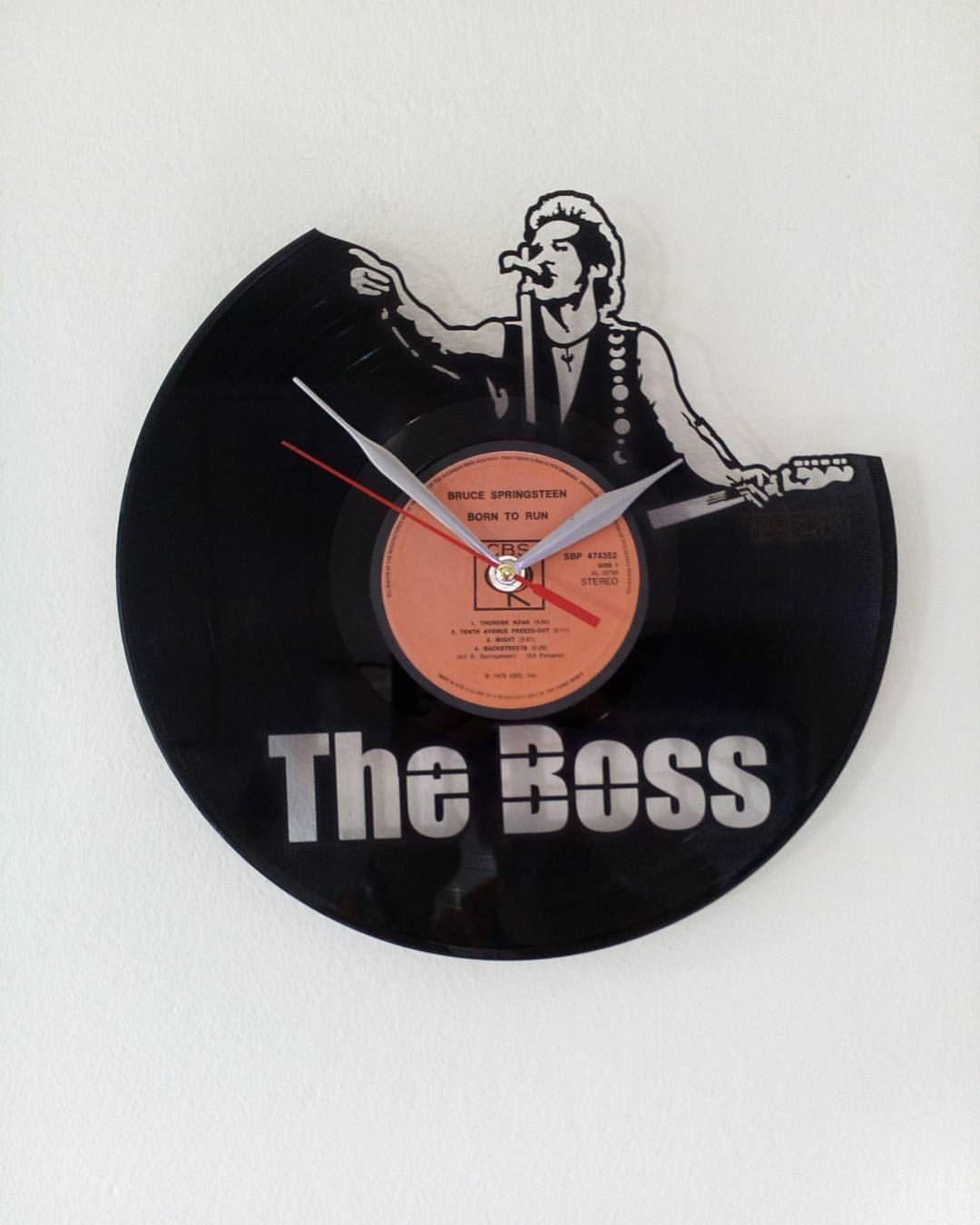 Bruce Springsteen Wallclock Made Of Old Used Vinyl Record By Tazindizajn On Etsy Used Vinyl Records Bruce Springsteen Vinyl Records
