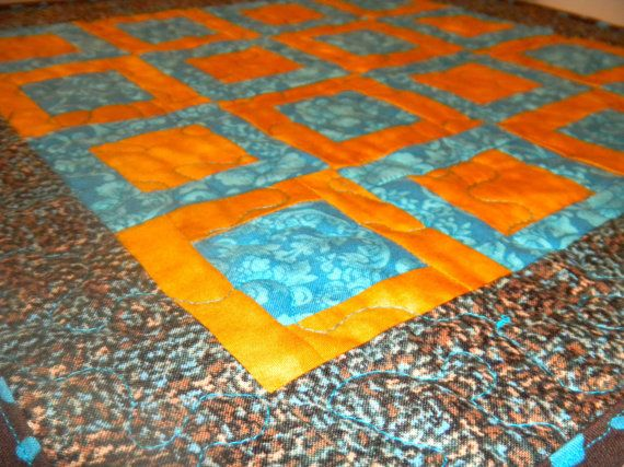 Squares in Squares Table Topper / Wall by TheQrazyQuiltster, $25.00