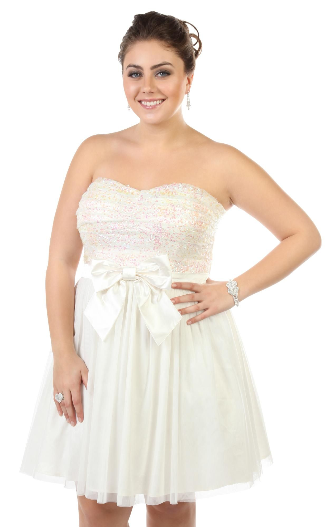 Prom dresses plus size strapless sequin short prom dress