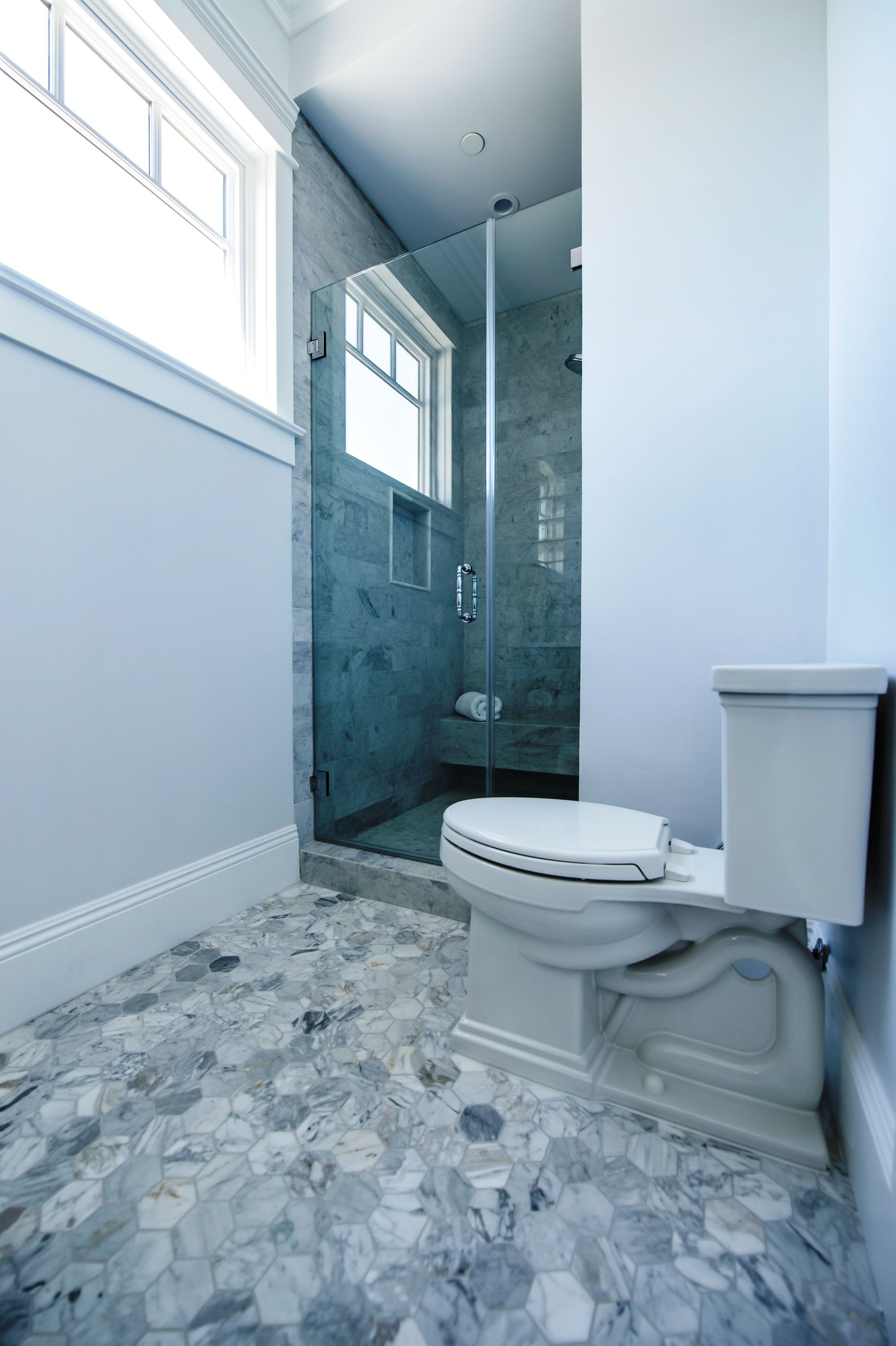 Marble Tiles | Cape Cod Style Bathroom at Densmore in Los Angeles by ...