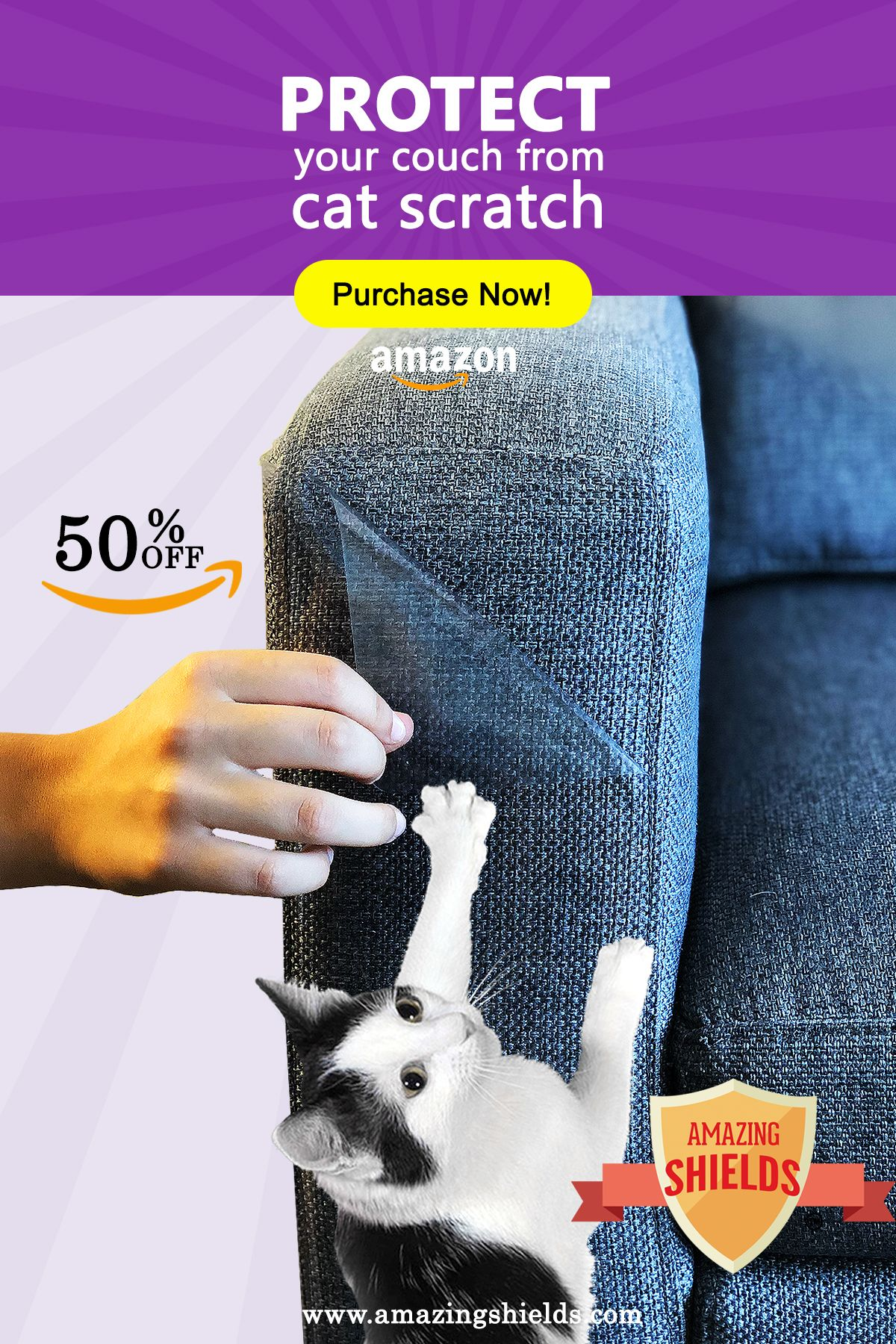 Stop Cat From Scratching Couch Amazing Shields Is An Anti Scratching Furniture Protector It Will Protect Y Cat Scratching Furniture Cat Couch Cat Proof Couch