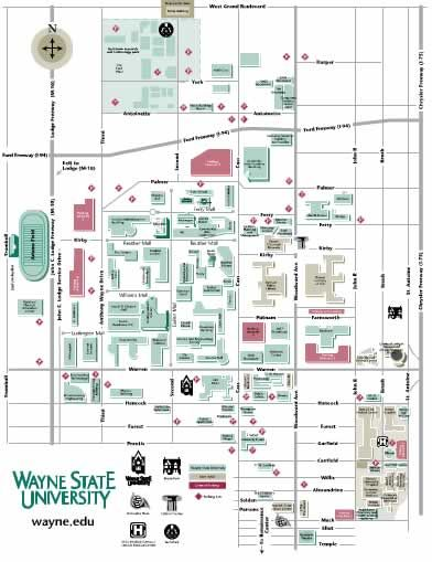 Wayne State University Campus Map | Park Map