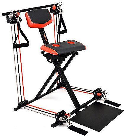 Nano Gym Supreme Portable Home Gym w/ Footplate, Built-in Swivel Gel Seat &…