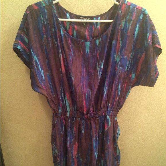 Express Women's Purple Multicolor Dress Women's purple multicolor shift dress with cinched waist by Express. Great dress, only worn once! Express Dresses Mini