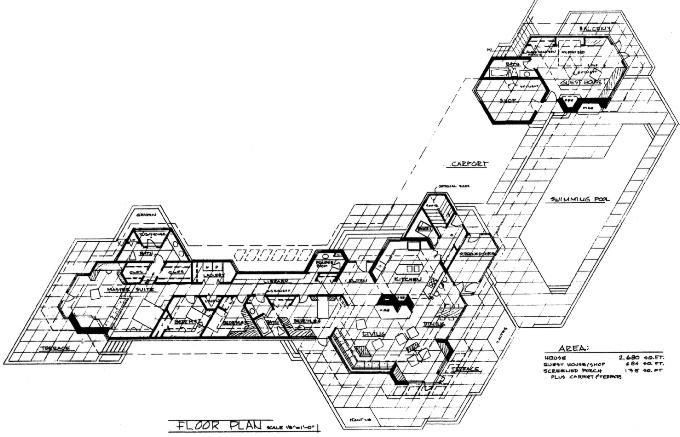 The Neat Hanna Honeycomb House By Frank Lloyd Wright Floorplan Made With No Right Angles Frank Lloyd Wright Hanna House Library Plan
